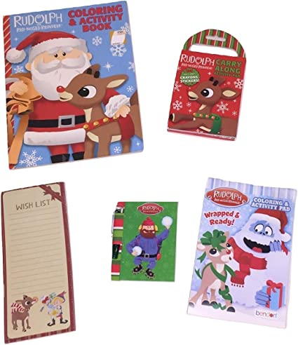 NEW Rudolph Red Nosed Reindeer Bumble Santa Claus 5-Piece Magnetic Note Pad Set
