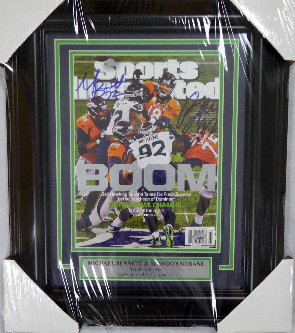 Michael Bennett & Mebane Autographed Framed Sports Illustrated Sb Mcs 123673 Autographed NFL Magazines