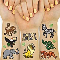 xo, Fetti Jungle Temporary Tattoos for Kids - 30 styles | Zoo, Boys + Girl Craft, Birthday Party Supplies, Baby Shower