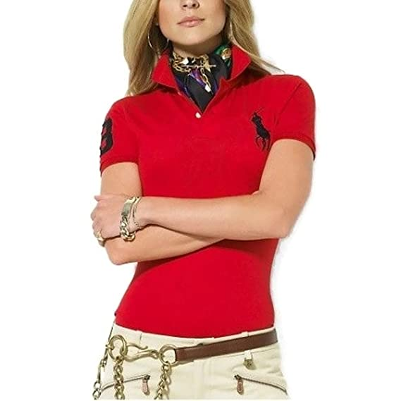Polo Ralph Lauren Mujer Camiseta de manga corta rojo: Amazon.es ...