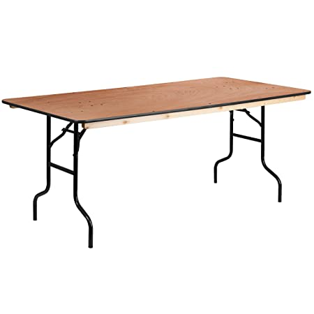 Flash Furniture 36 x 72 Rectangular Wood Folding Banquet Table with Clear Coated Finished Top
