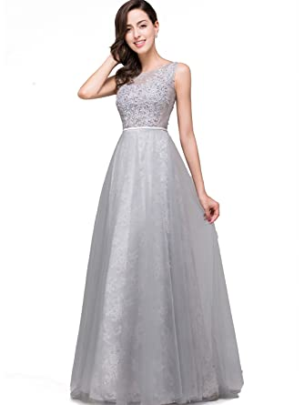 Babyonlinedress Women Lace Long Evening Dresses 2018 Prom Homecoming Gown - Silver -