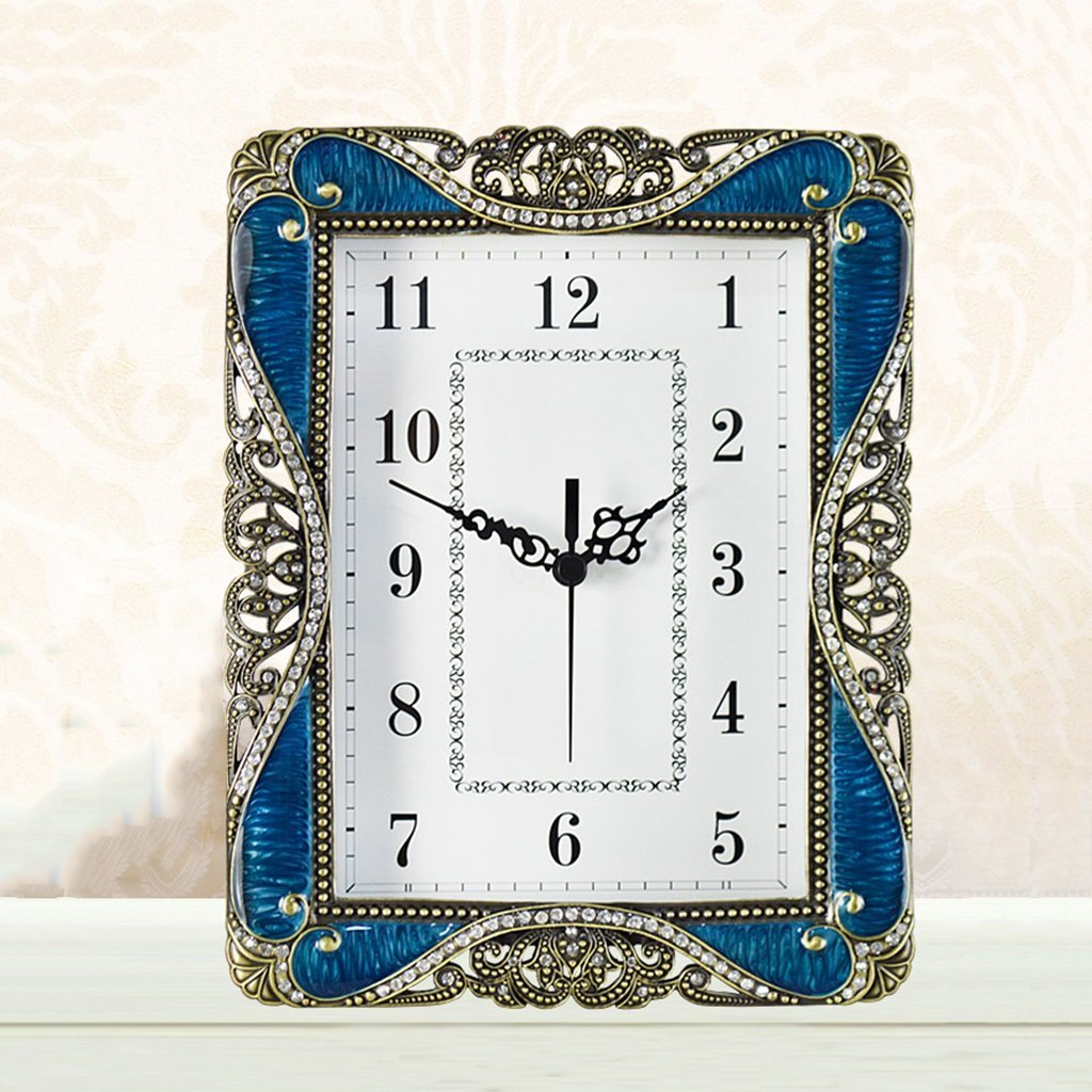 HAOFAY European Blue Silent Desk and Shelf Clock Decoration, Silent Quartz Clock Clock Desk Clock