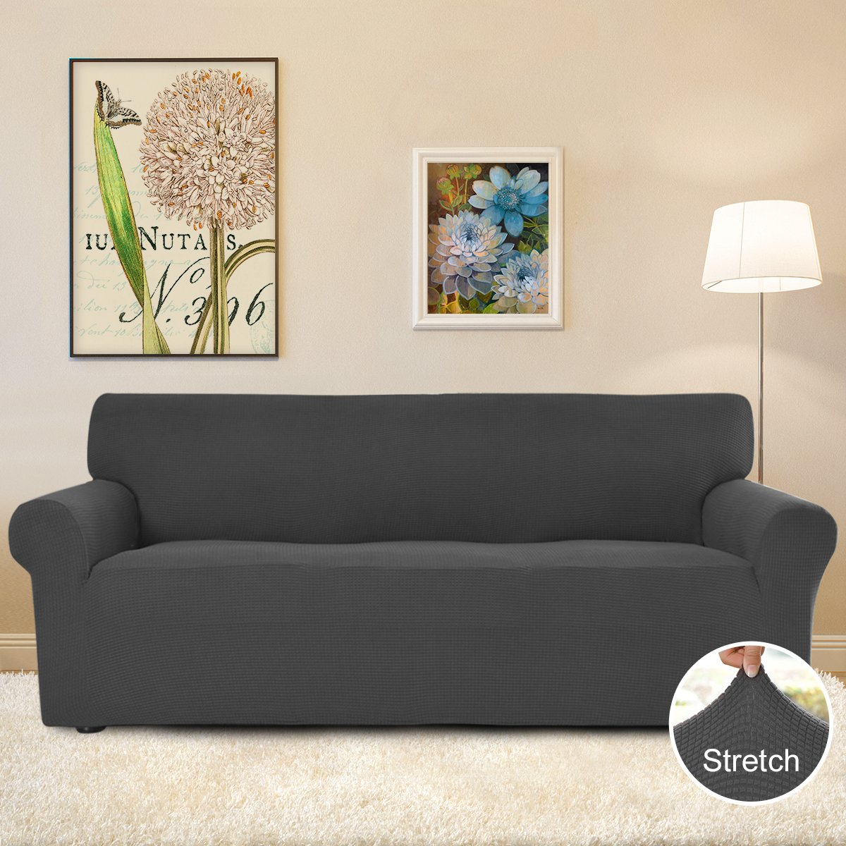 Easy-Going Stretch Slipcovers, Sofa Covers, Furniture Protector Elastic Bottom, Anti-Slip Foam, 1 Piece Couch Shield, Polyester Spandex Jacquard Fabric Small Checks (Sofa,Dark Gray)