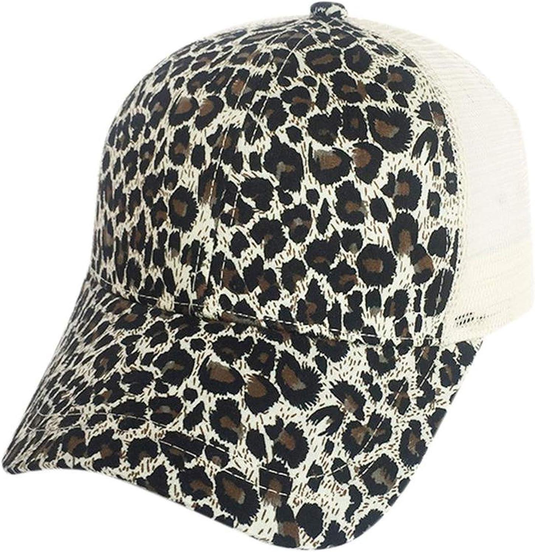 TokLask Leopard Ponytail Baseball Cap Women Baseball Hat Summer Casual Girls Hip Hop Sport Hats