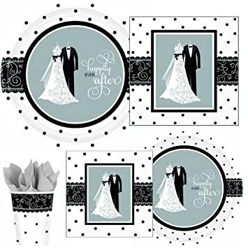 Black u0026 White Wedding Bridal Shower Wedding Party Supply Pack! Bundle Includes Paper Plates  sc 1 st  Amazon.com & Amazon.com: Black u0026 White Wedding Bridal Shower Wedding Party Supply ...