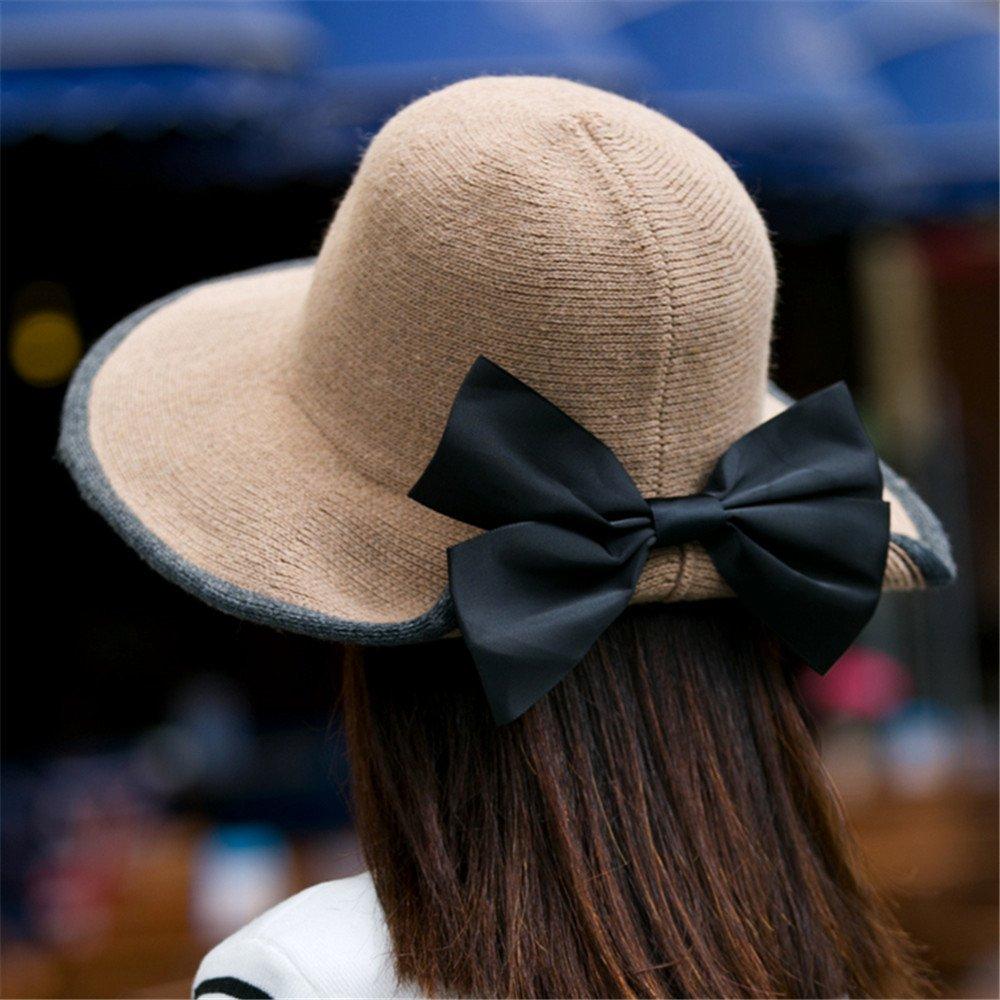 Un sombrero de mujer Lady bow domo gorro de punto de plegado de invierno otoño invierno todos-match ...