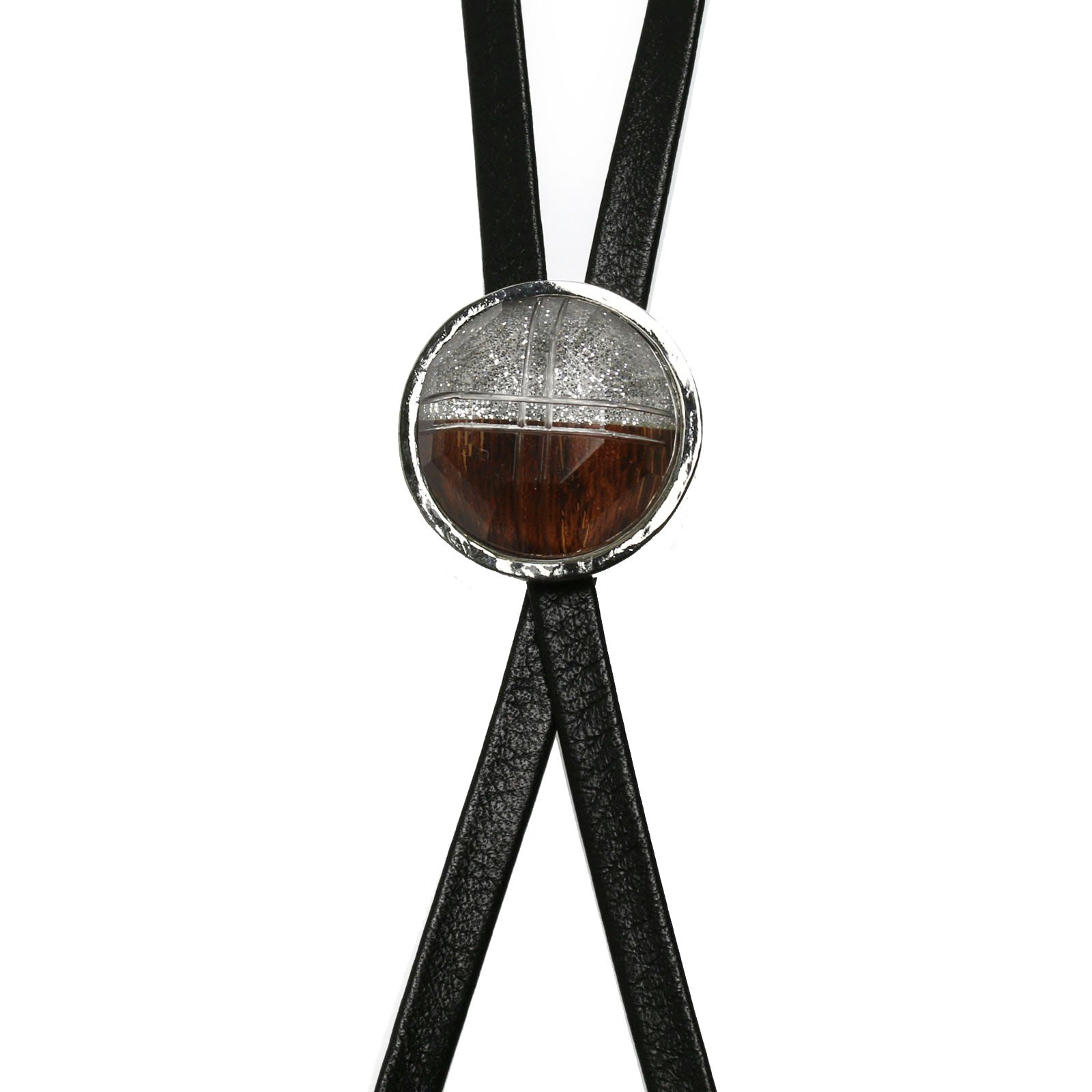 Tamarusan Bolo Tie Silver Lame Wood Leather Straps Nickel-Free Male Cross
