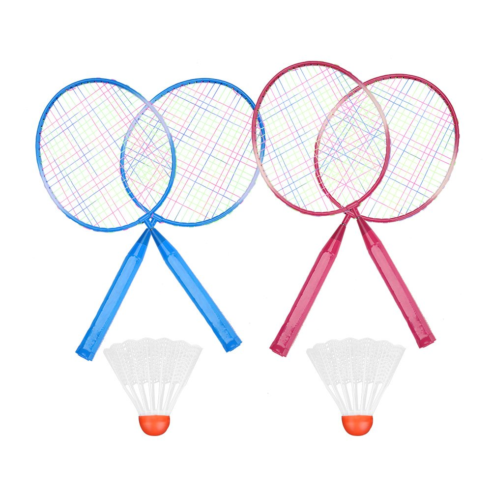 Kid Children Junior Badminton Rackets Set of 2, Red Blue Durable Nylon Alloy Badminton Racket Racquet For Kids Children Juniors Adult Training Practice, 1 x Round Ball+1 x Badminton Ball+1 x Feather Bal Tbest