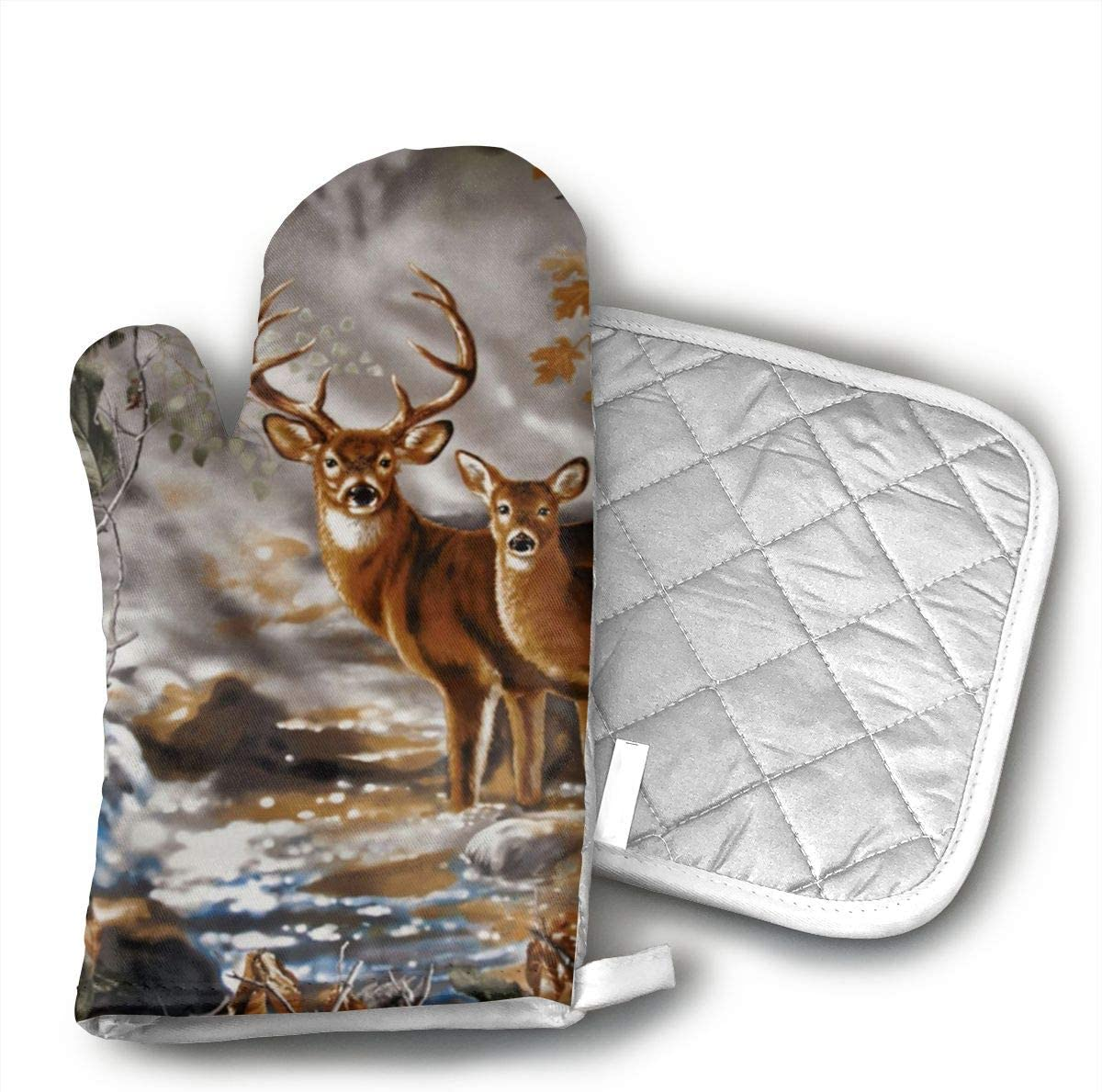 Wiqo9 Real Tree Camouflage Deer Oven Mitts and Pot Holders Kitchen Mitten Cooking Gloves,Cooking, Baking, BBQ.