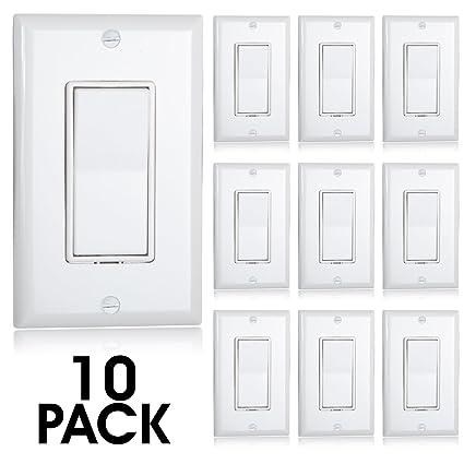 Maxxima 3 Way Decorative Wall Switch On/Off White 15A, Rocker Light Switch  Wall