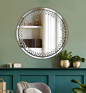 Round Silver Wall Mirror for Wall Decoration Crystal Clear Floating Diamond Décor 23.6x23.6x1 inch Wall Hang Frameless Mirror Glass Diamond Art.