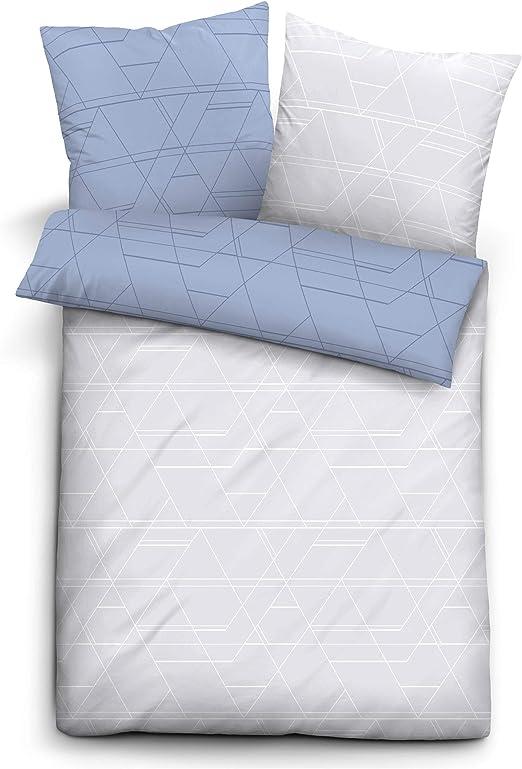biberna 0068566 Trendline - Juego de Funda de edredón y Funda de Almohada (algodón, 135 x 200 cm y 80 x 80 cm), Color Azul: Amazon.es: Hogar