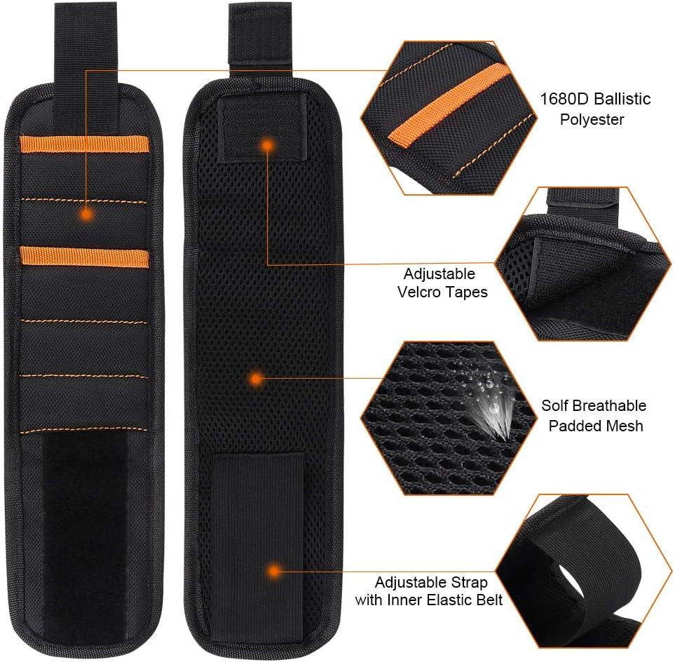 Bracelet Magn/étique DIAOCARE Ceinture /à Outils Magn/étique avec 2 Petites Poches 15-Aimants Velcro Magn/étique R/églable/Bracelet doutil Magn/étique pour tenir de Petits Outils,Vis,Perceuses,Clous