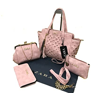 212348b3 Zara Pink Handbag combo for woman with sling bag/Zara Set Of 4 ...