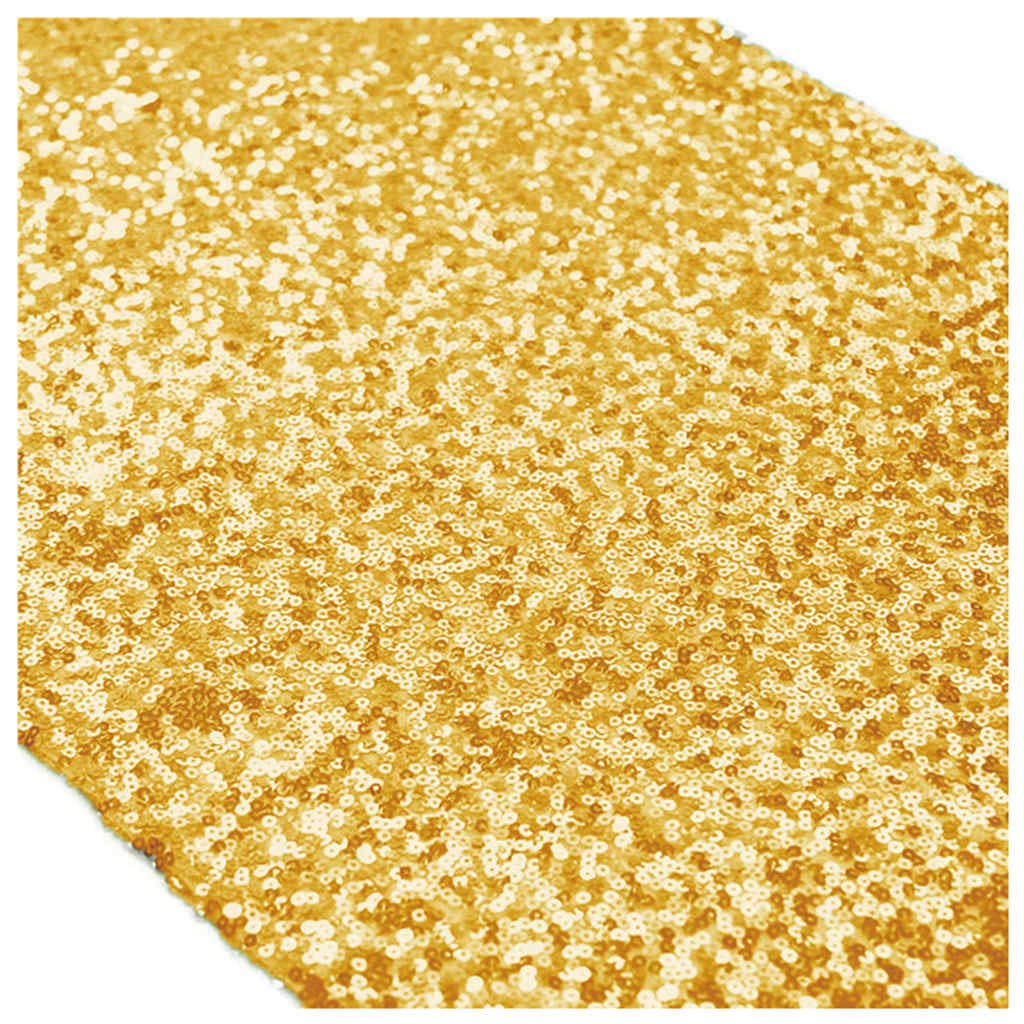 Gold Bridal Shower Decorations 12x108-Inch Wedding Table Runners Shiny Gold Sequin Table Runners 15pcs -0908S