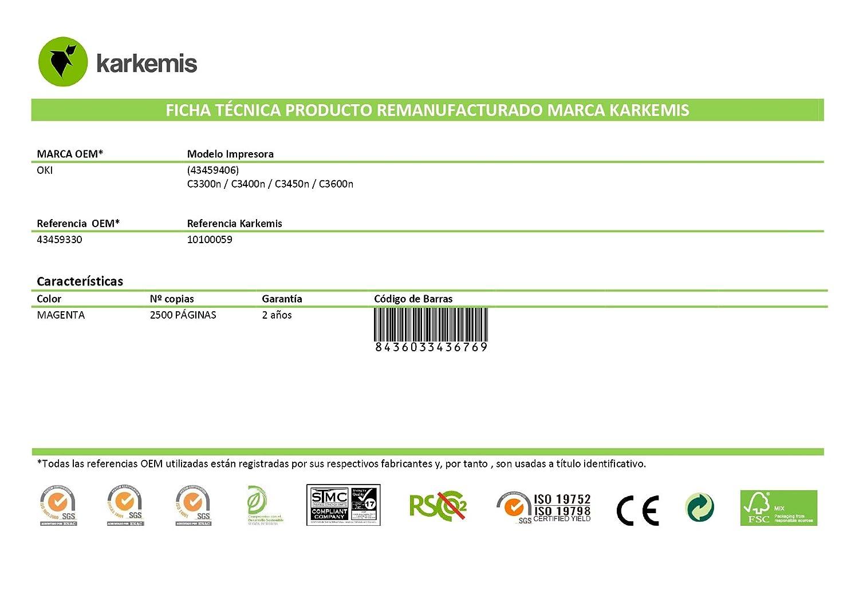 Tóner Karkemis remanufacturado OKI laser 43459331 (C3300) Cian ...