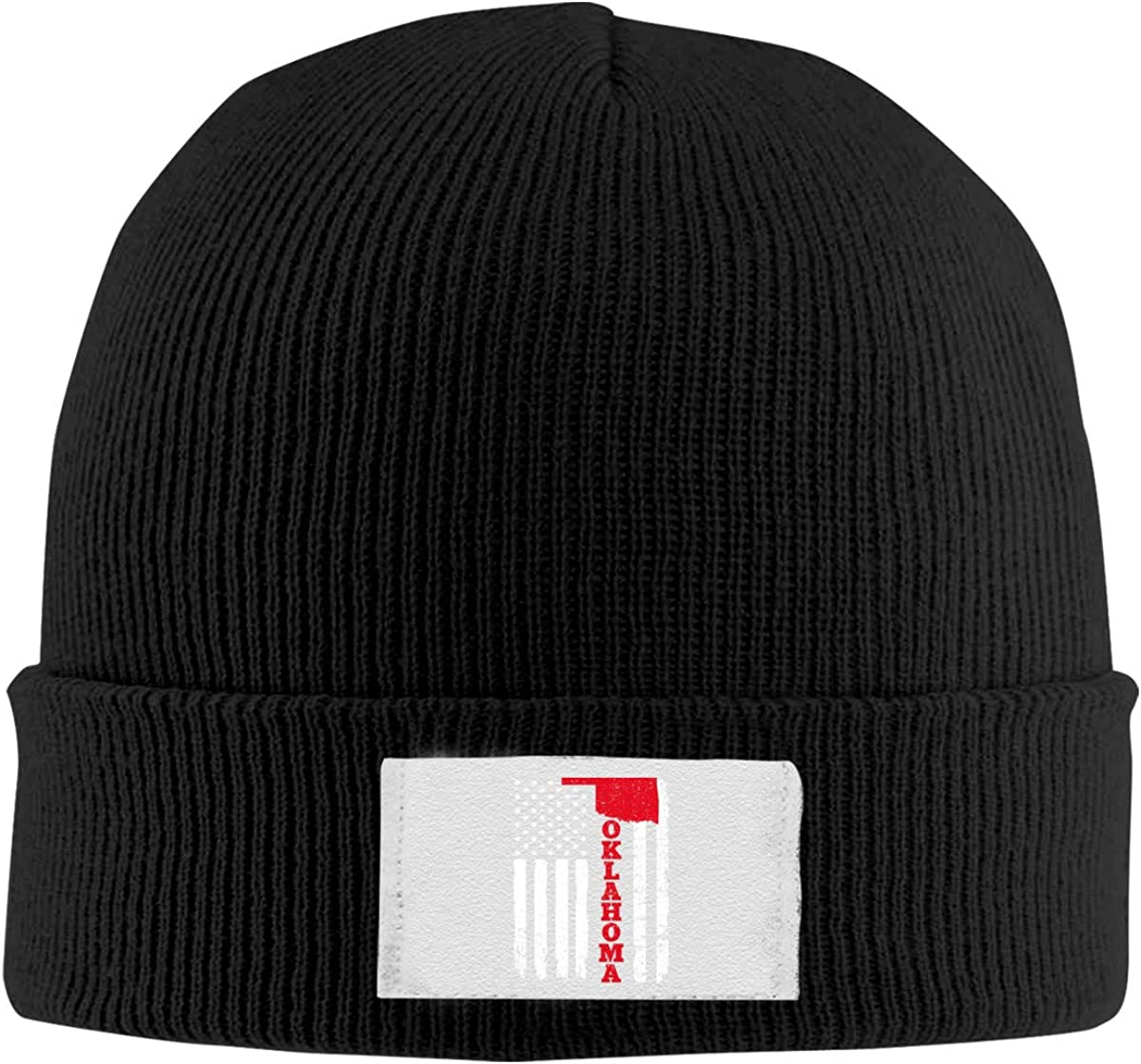 Classic Men Knit Beanie Hat USA Oklahoma Flag Skull Cap