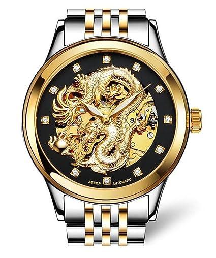 Esopo 9010 Hombres Suiza relojes marca de lujo hueco automático mecánico luminoso Relojes: Amazon.es: Relojes