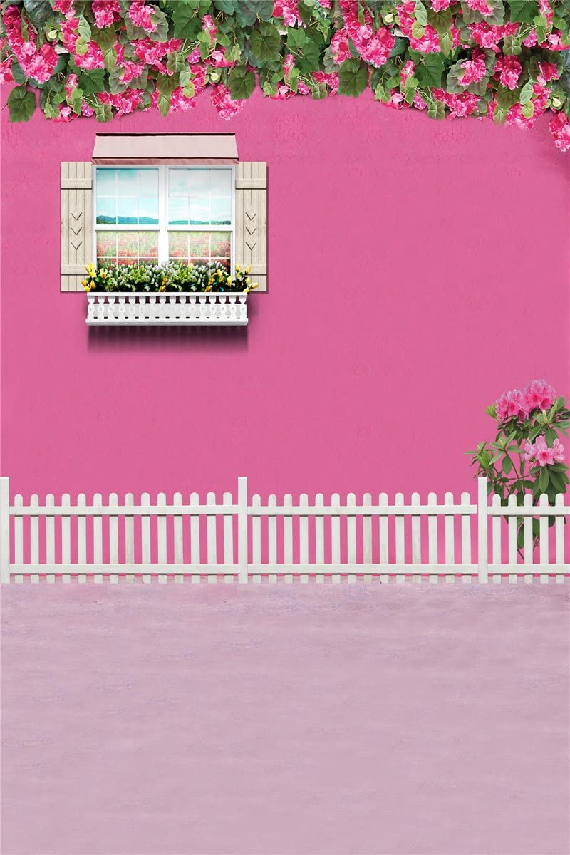 W Computer Printed Photography Background Backdrop 98.4 IN Girl Room Flowers 1.52m H 59 IN