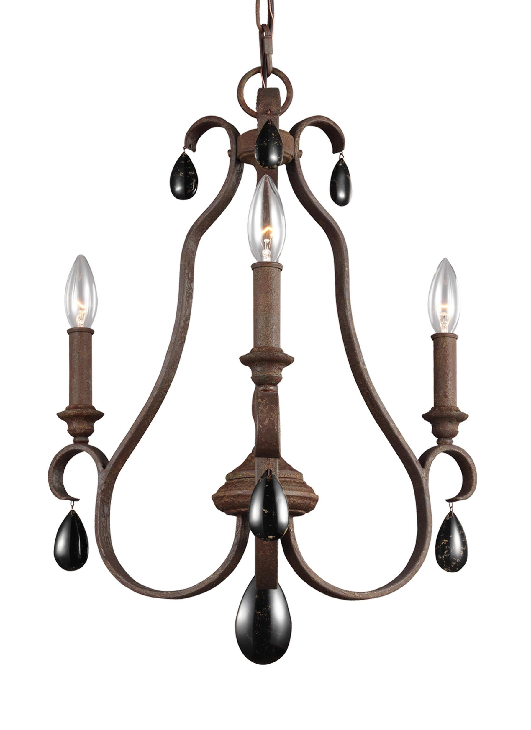 Feiss F3069/3WI DeWitt Crystal Candle Chandelier Lighting, 3-Light, 180watts, Iron (18''W by 22''H)