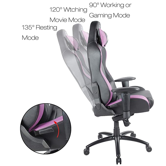 Amazon.com: BLUE SWORD Heavy Duty Racing Style Gaming Chair with Headrest and Lumbar Support, Large Back Executive Office Chair, Leatherette, ...