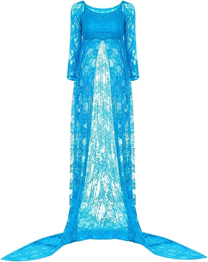 Schwanger Damen Lang Maxi Kleid Fotografie Spitze Durchsichtiges Umstandskleid