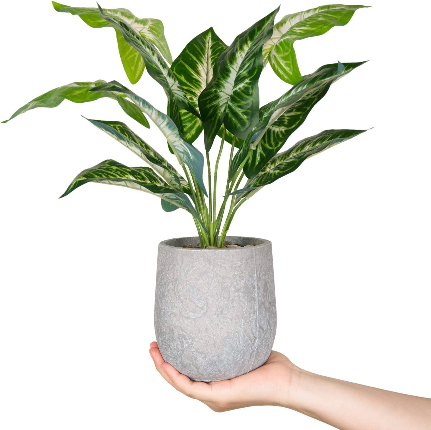"18"" Small Fake Plants Artificial Potted Greenery Plant for Office Desk Home Bathroom Decor"