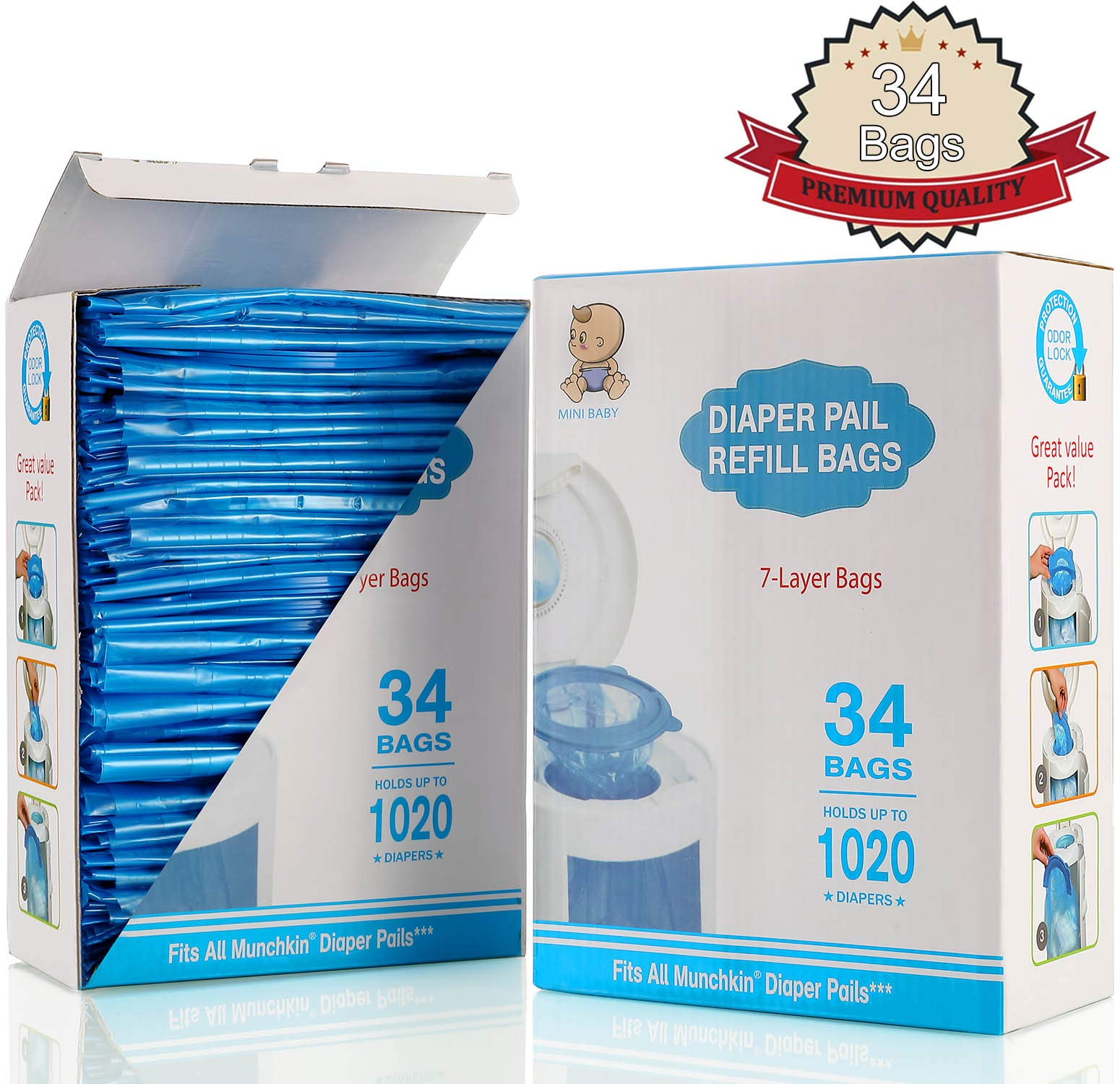 Diaper Pail Refill Bags, Fully Compatible with Arm&Hammer Disposal System Seal and Toss Diaper Pail Refills,1020 Counts, 34 Bags by DDM