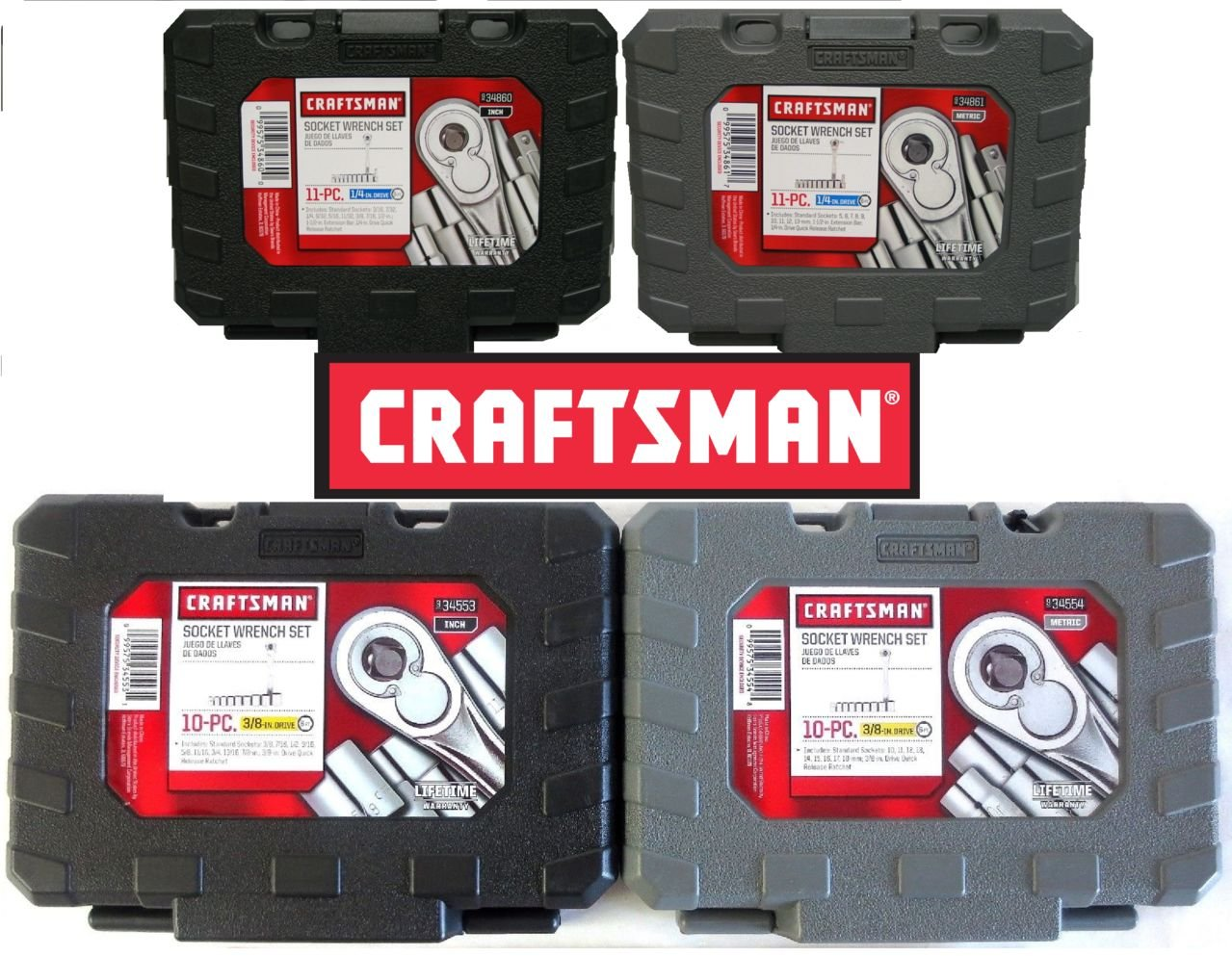 Craftsman 42 PC 1/4 & 3/8 Drive Ratchet Socket Set Standard and Metric 9-34860 9-34861 9-34554 9-34553 by Craftsman  B01F48E2S8