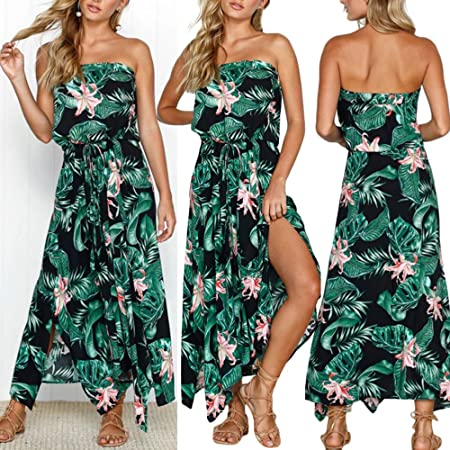 Womens Bohemian Dresses Casual V-Neck Dress Printed Sleeveless Knee-Length Skirts Strap Cotton Tops By BOLUBILUY