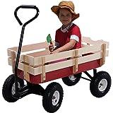 Giantex All Terrain Cargo Wagon Wood Railing Kids Children Garden Air Tires Outdoor Red