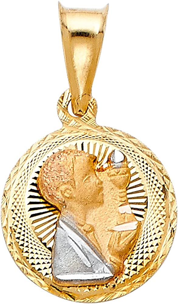 14K Tri Color Gold Diamond Cut Stamp Communion Charm Pendant with 0.9mm Wheat Chain Necklace