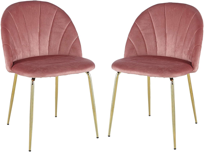 Duduta Blush Pink Velvet 1 year warranty Upholstered Lowest price challenge Dining o Chairs Set Kitchen