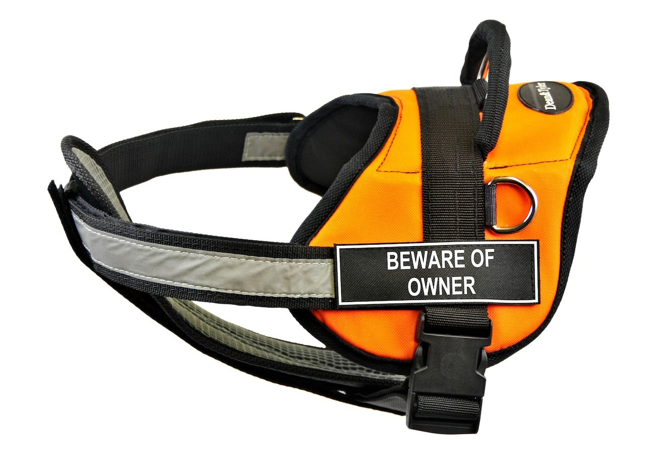 Dean & Tyler 25 to 34-Inch Beware of Owner Fun Pet Harness with Padded Reflective Chest Straps, Small, orange Black
