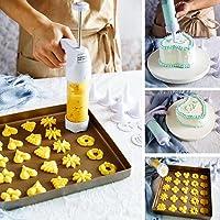 Cookie Press Gun Kit - Multifunctional Cookie Press Biscuit Maker Cake DIY Decorating Gun Set Food Grade Plastic with 12 Discs and 6 Icing Tips
