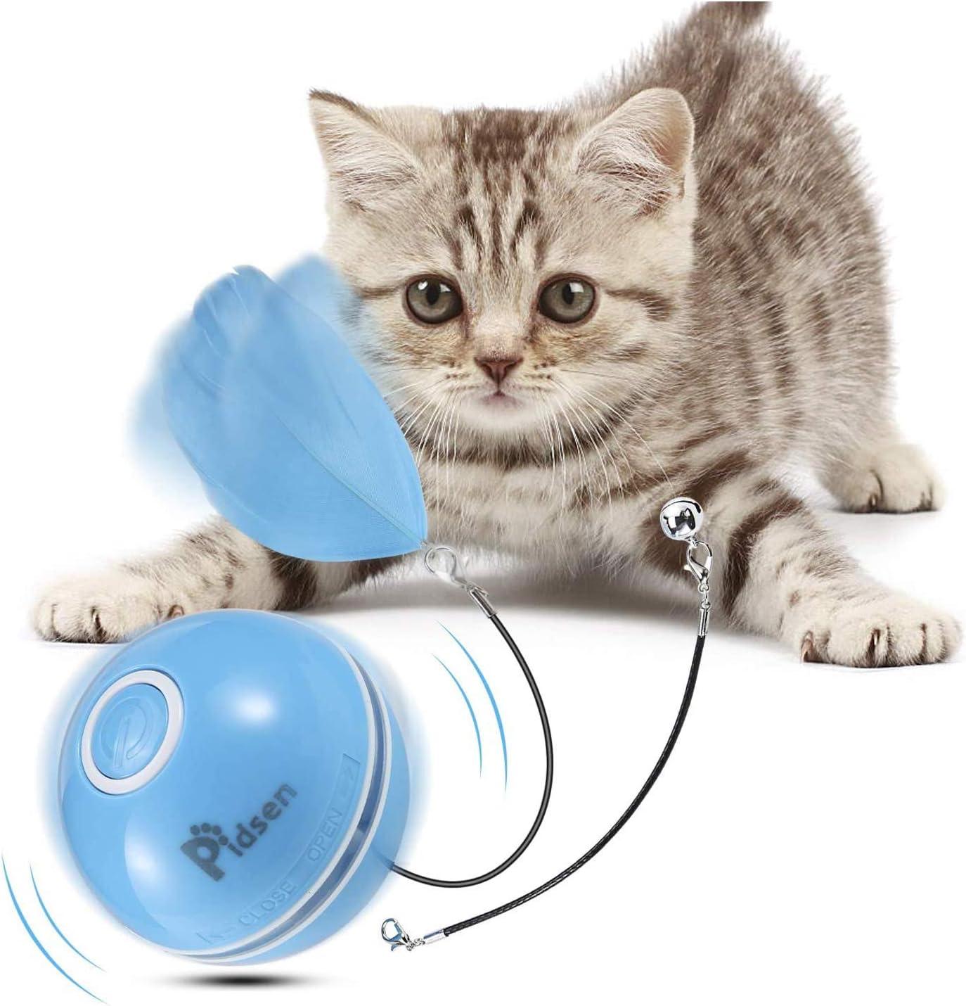 Pidsen Bola de Gato,Juguetes Gatos Pelotas, Juguete para Mascotas con Carga USB, Luz LED Giratoria Incorporada, 2 Modos de Iluminación & Adjunto Pluma con Campana