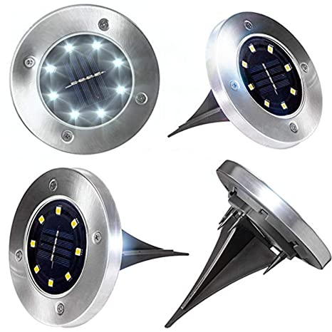 size 40 f4055 bf26a Solar Ground Disk Light,4 Pack Waterproof Outdoor Ground Light Stainless  Steel with 8 LED for Garden Pathway Walkway Yard