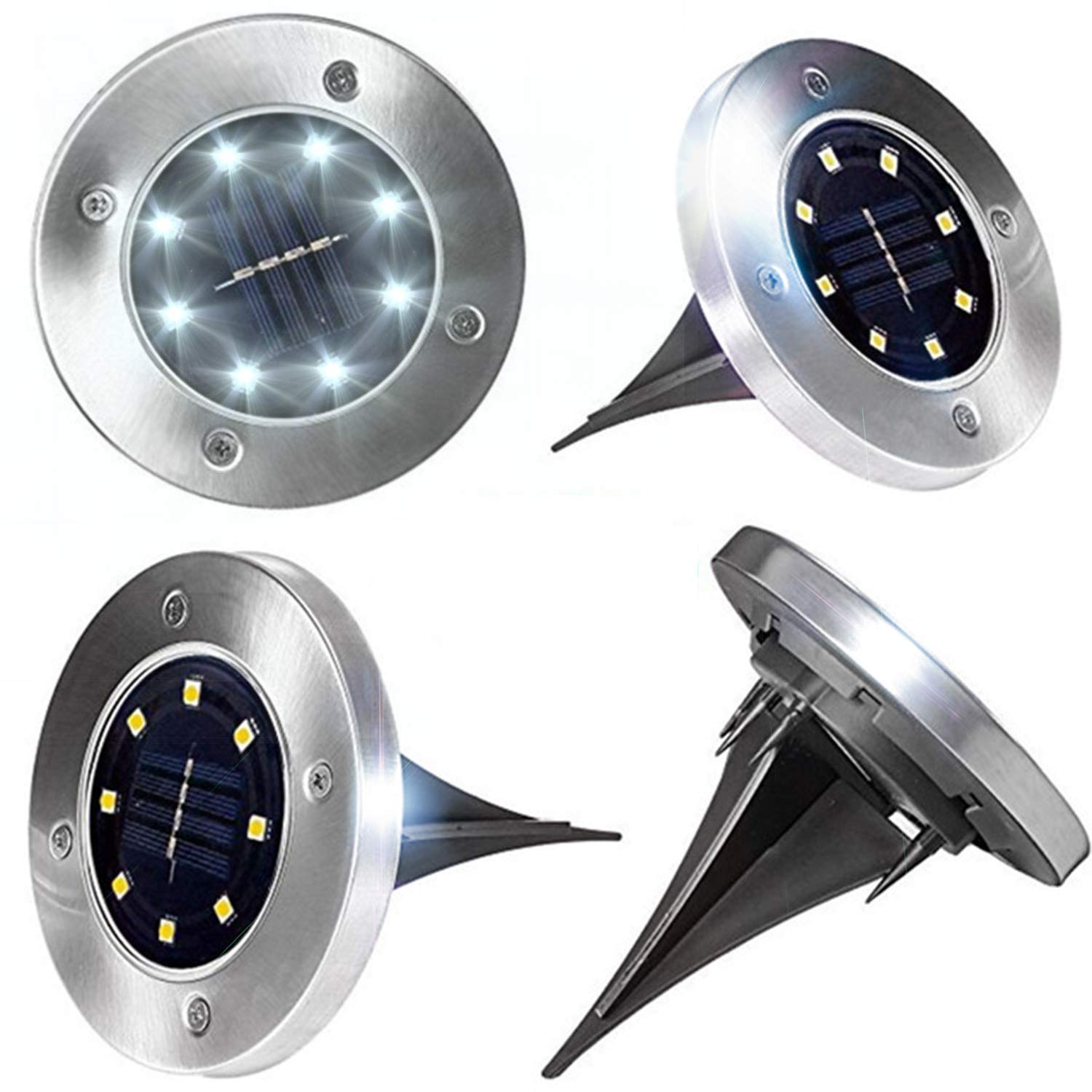 Solar Ground Disk Light,4 Pack Waterproof Outdoor Ground Light Stainless Steel with 8 LED for Garden Pathway Walkway Yard