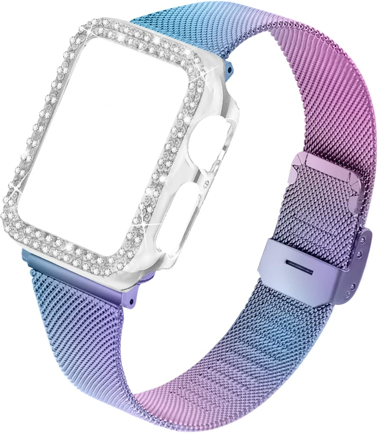 Joyozy Stainless Steel Mesh Bands Compatible for Apple Watch 44mm,Women Bling Protective Crystal Diamond Case with Loop Mesh Strap for Apple Watch Series 6/SE/5/4(No Tool Needed) (Colorful, 44MM)