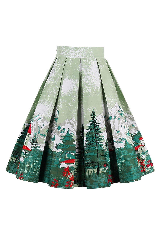 YACUN Women's Casual Printed A-line Pleated Midi Skirt CAMN1392