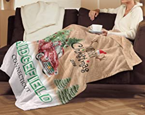 FamilyGift Merry Christmas Decorations Home 2019 with Hometown Ridgefield Connecticut State - Plush Fleece Blanket, TV Blanket 60x80 for Sofa, Bed Couch Living Bed Room