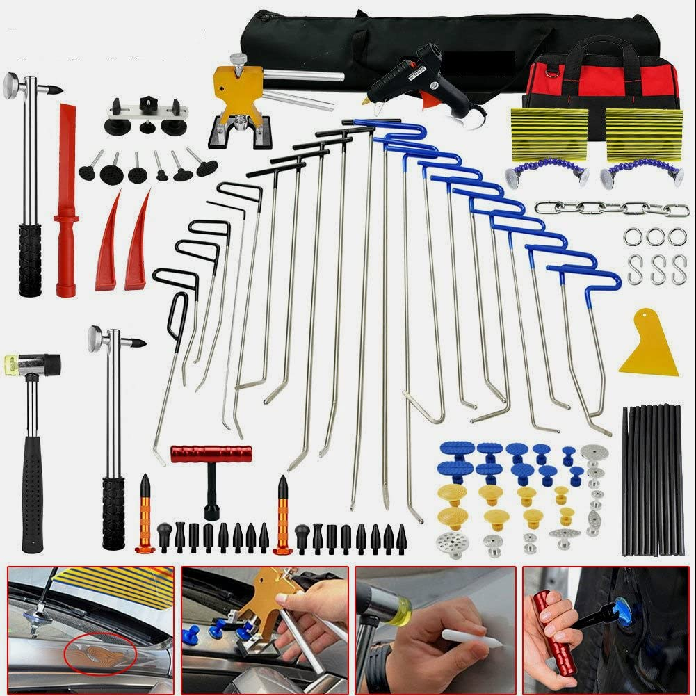 Amazon Com Skroutz Dent Puller Pdr Tools Paintless Dent Repair Tools Ding Rods Professional Hail Removal Big Kit Automotive