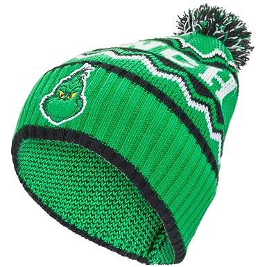 Amazon.com  Dr. Seuss - The Grinch Pom Pom Knit Hat  Clothing 4caac1f9555