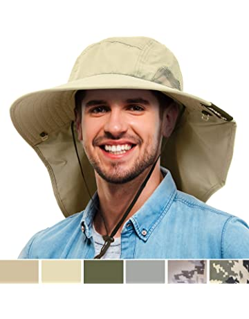 6b47c101b Tirrinia Mens Wide Brim Sun Hat with Neck Flap Fishing Safari Cap for  Outdoor Hiking Camping