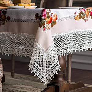 ARTABLE Lace Table Cloths Rectangle Fall Antique Flower Decor Macrame Tablecloth for Outdoor Farmhouse Rustic Kitchen Party Birthday Picnic (Cream, 60 x 104 Inch)