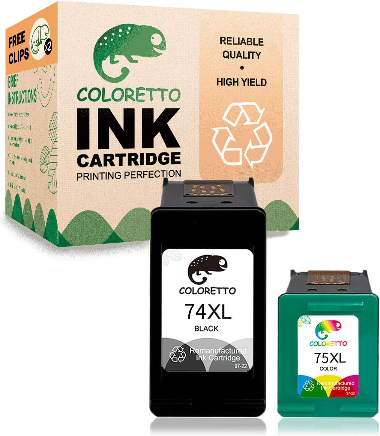 Coloretto Remanufactured for HP 74XL 74 XL 75XL 75 XL Ink Cartridges,Used in HP Officejet J6480 J5780, Deskjet D4260 D4360 Photosmart C4280 C5280 C4480 C4580 C5580 (1 Black+1 Tri-Color