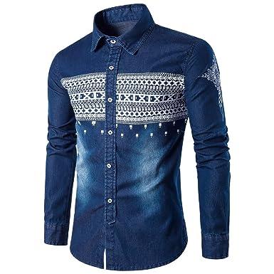 d7543b099c9 XXSZKAA-Shirts Men s Striped Printed Denim Shirt Fashion Slim Denim Shirt  Men