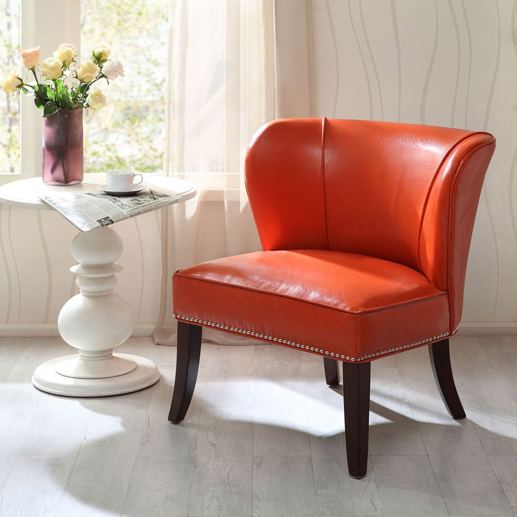 JLA Home Hilton Wingback Orange Faux Leather Accent Chair, Burnt