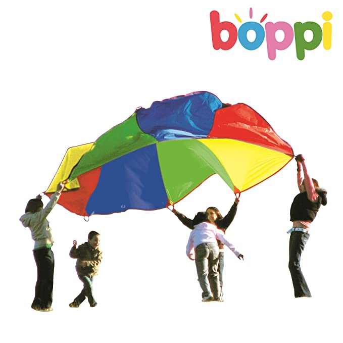 boppi- Paracaidas Grande de Juegos 3,5 Metros- Rojo, Verde, Amarillo & Azul: Amazon.es: Juguetes y juegos